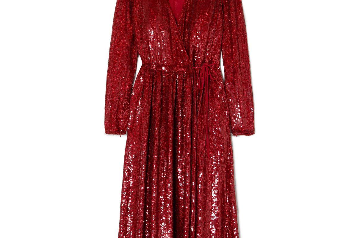 Sequined Silk-Georgette Wrap Dress