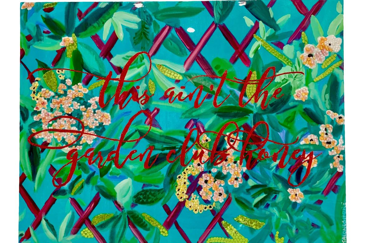 ashley longeshore original garden club series acrylic and mixed media painting
