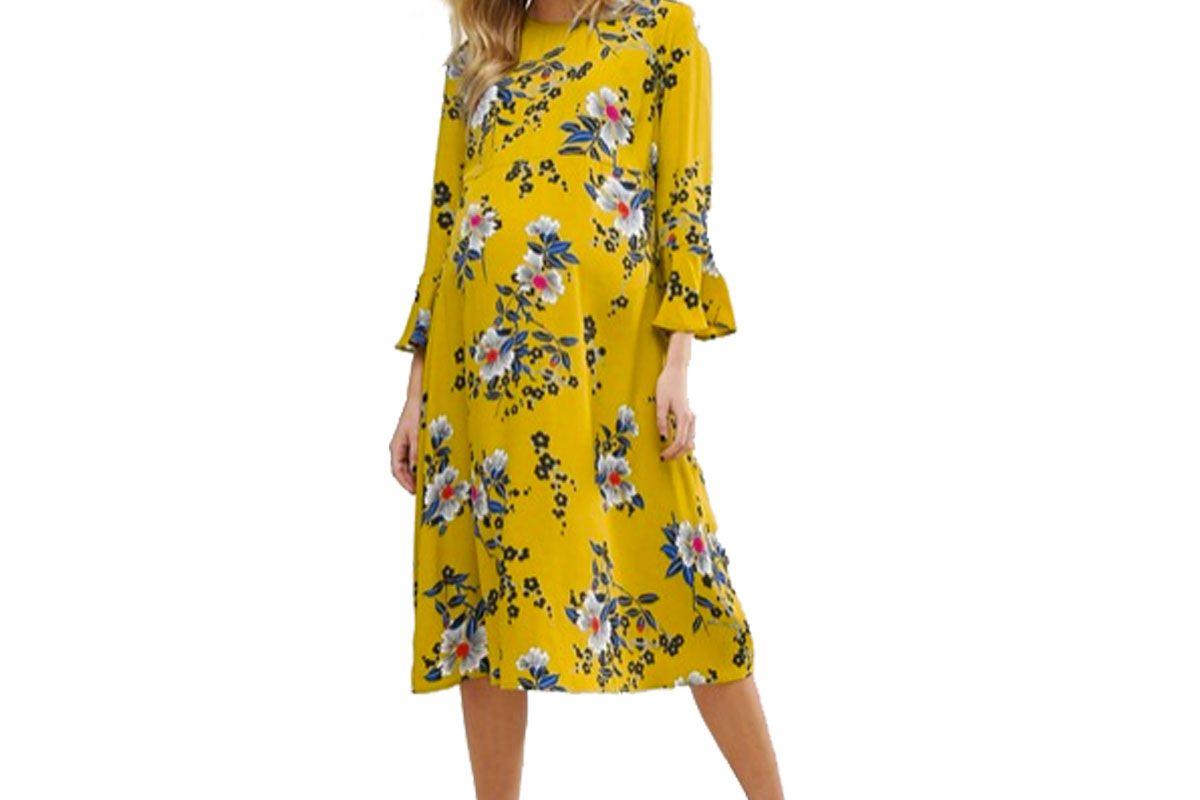 Maternity Column Midi Dress in Satin Floral