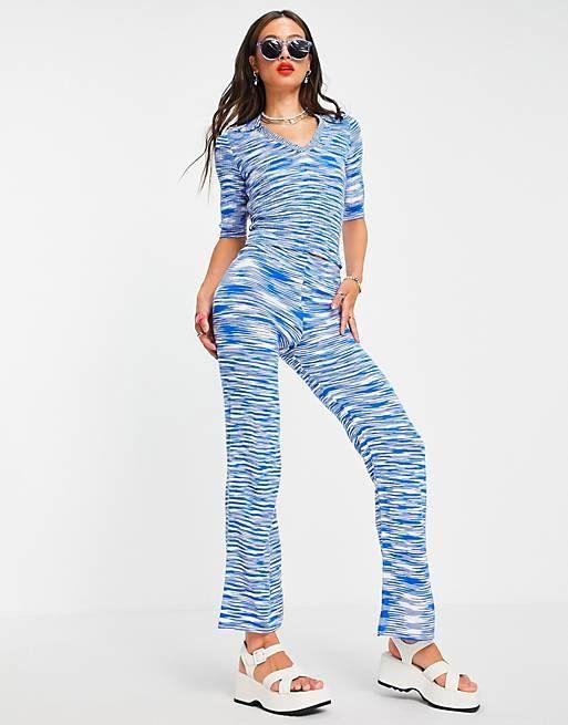 asos design matching knit wide leg pants in space dye in blue