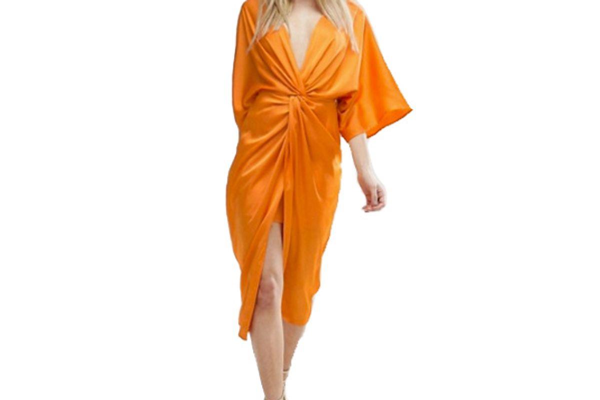Kimono Twist Front Midi Dress