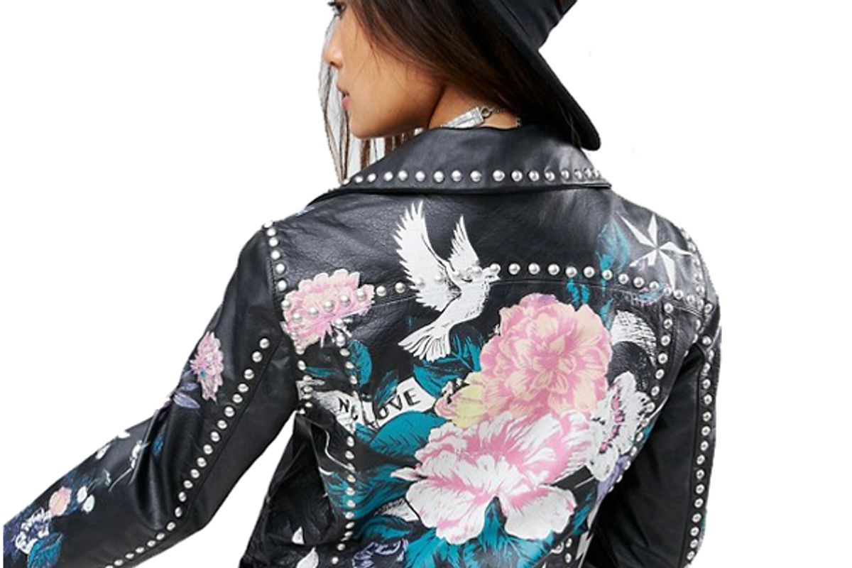 Premium Leather Jacket with Tattoo Rose Print and Studs