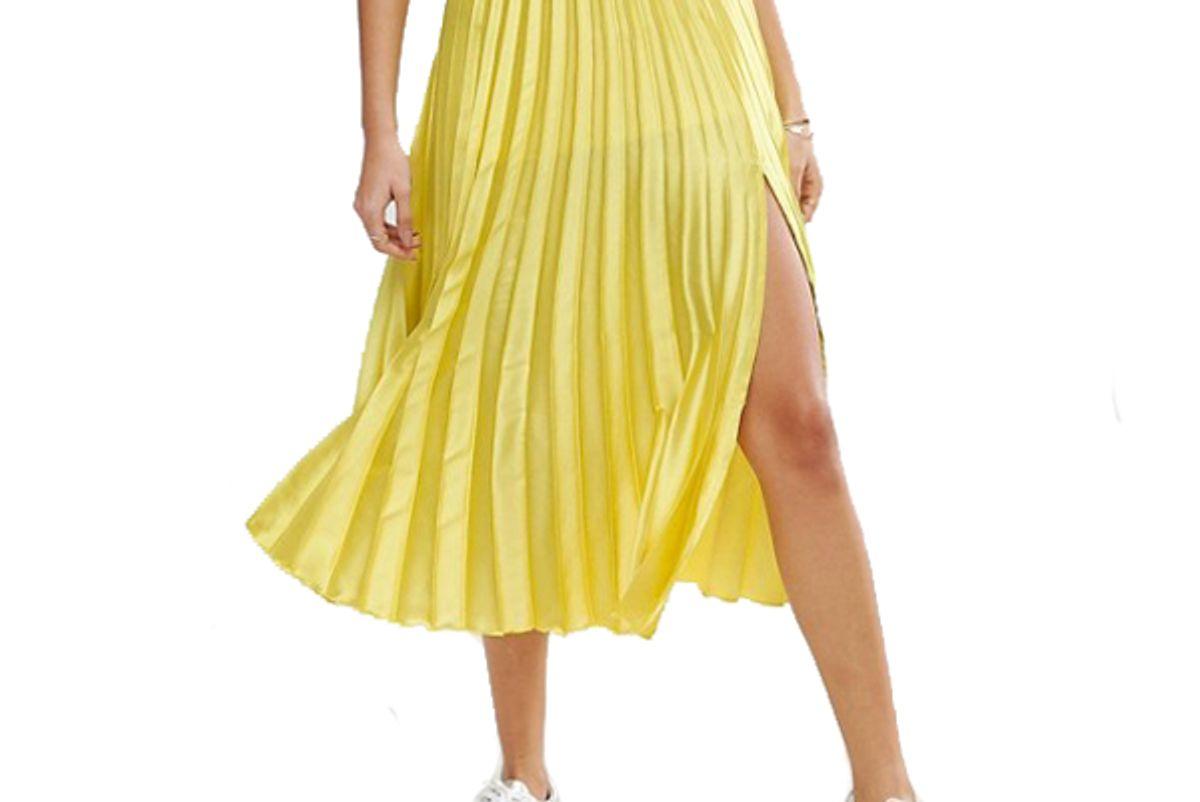 Satin Pleated Midi Skirt with Thigh Split