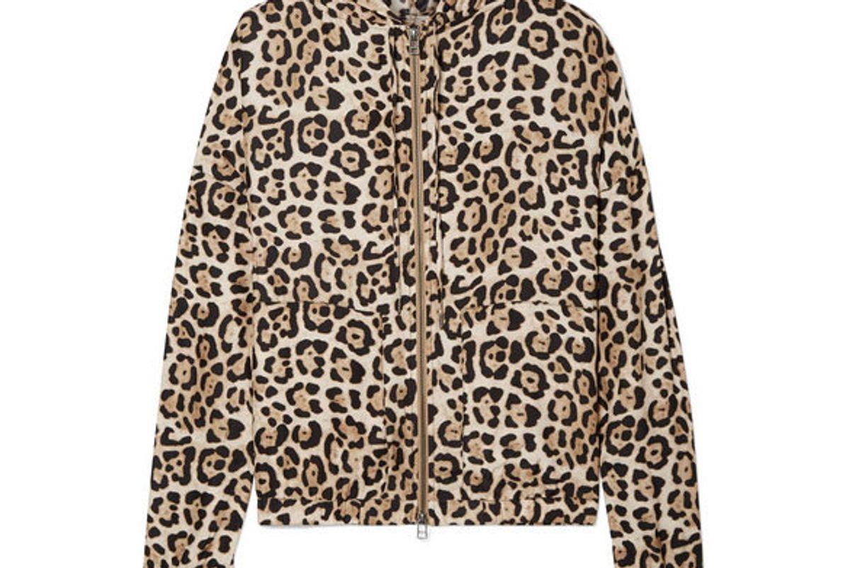 atm anthony thomas melillo hooded jleopard print silk charmeuse jacket