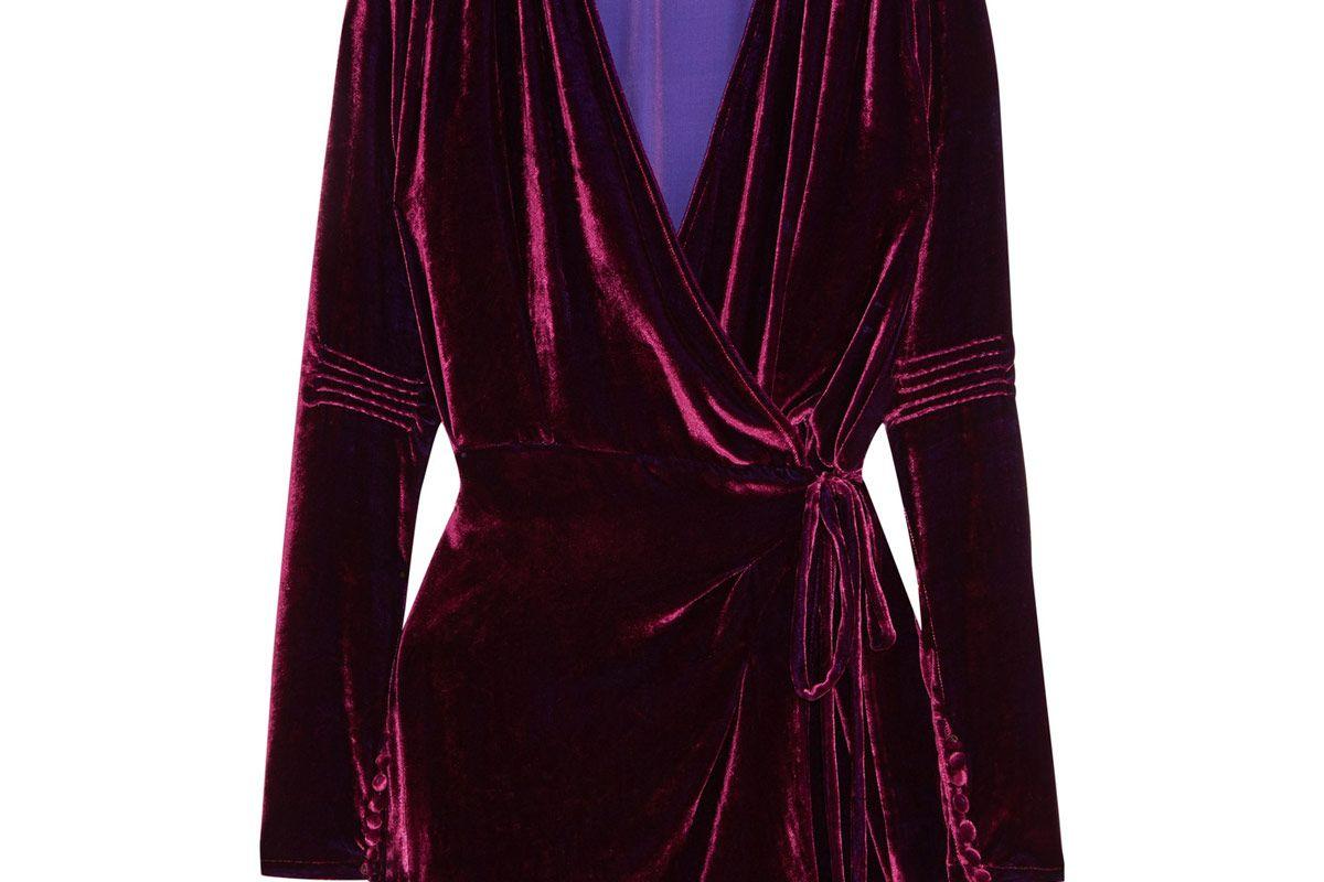Crushed-Velvet Wrap Mini Dress