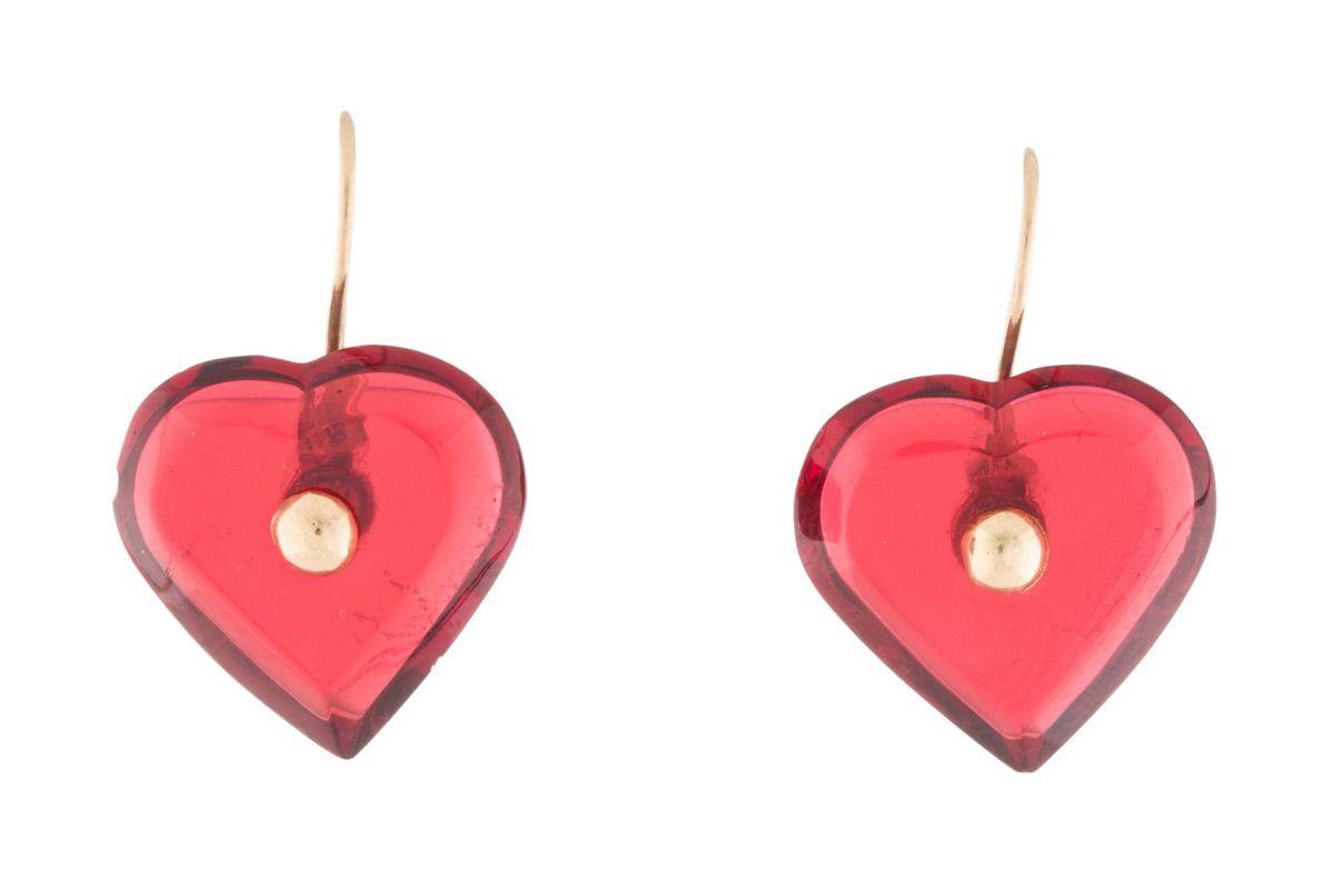 baccarat 18k crystal heart earrings