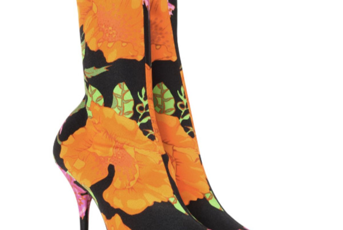 Knife Floral-Printed Ankle Boots