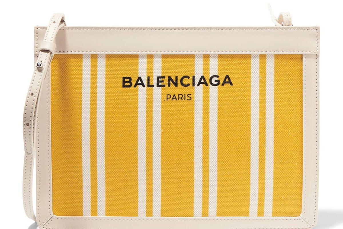 Leather-Trimmed Striped Canvas Shoulder Bag
