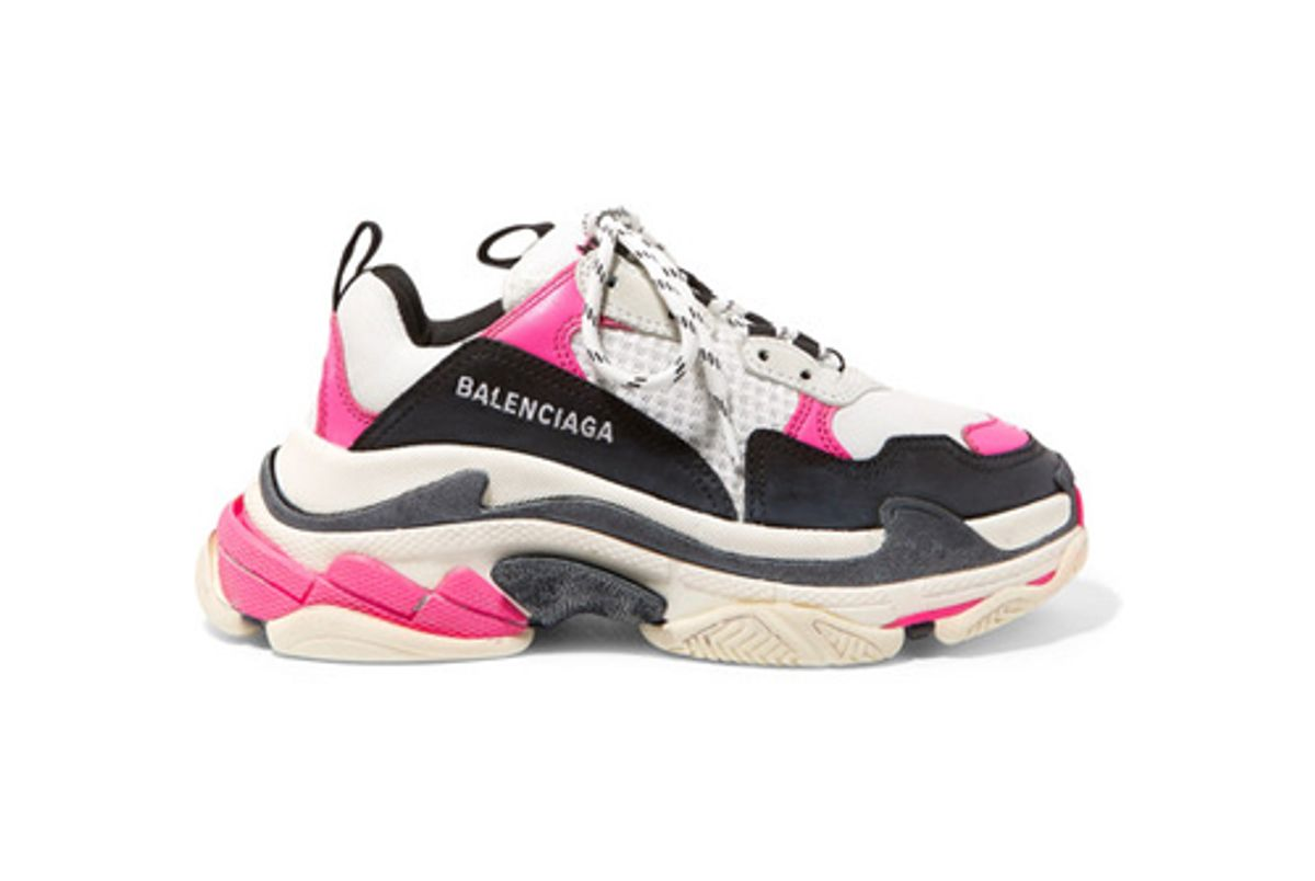 balenciaga triple s logo embroidered leather nubuck and mesh sneakers