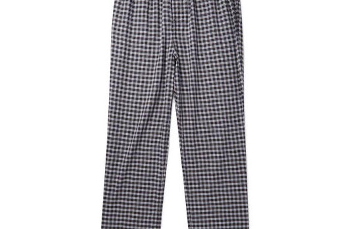 balenciaga wide leg checked cotton drawstring trousers