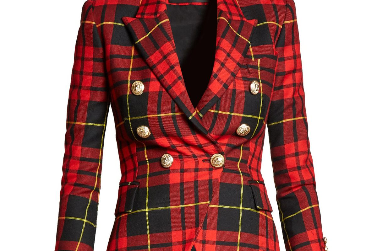 Double-Breasted Checked Wool Blazer