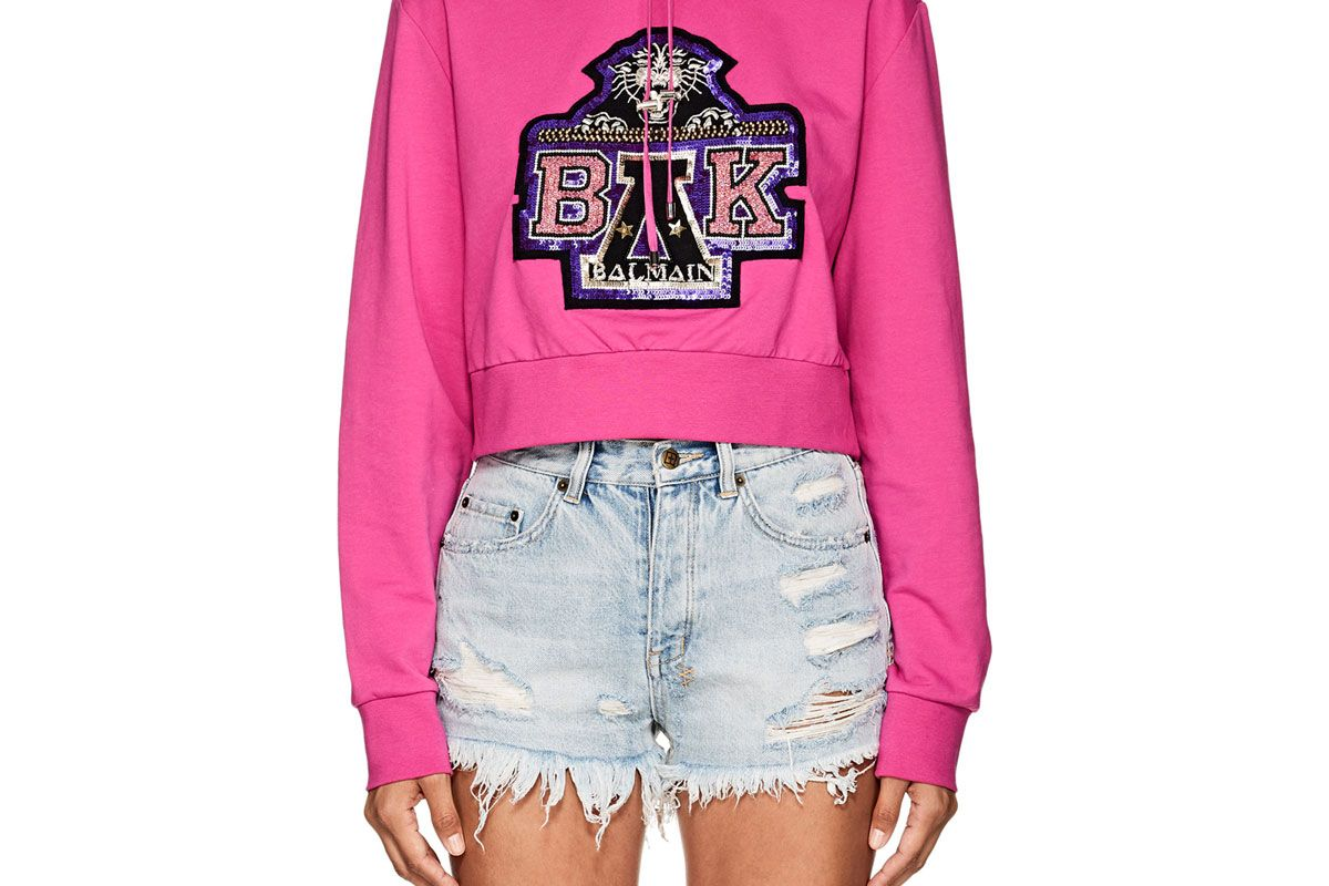 balmain for beyonce embellished cotton terry crop hoodie