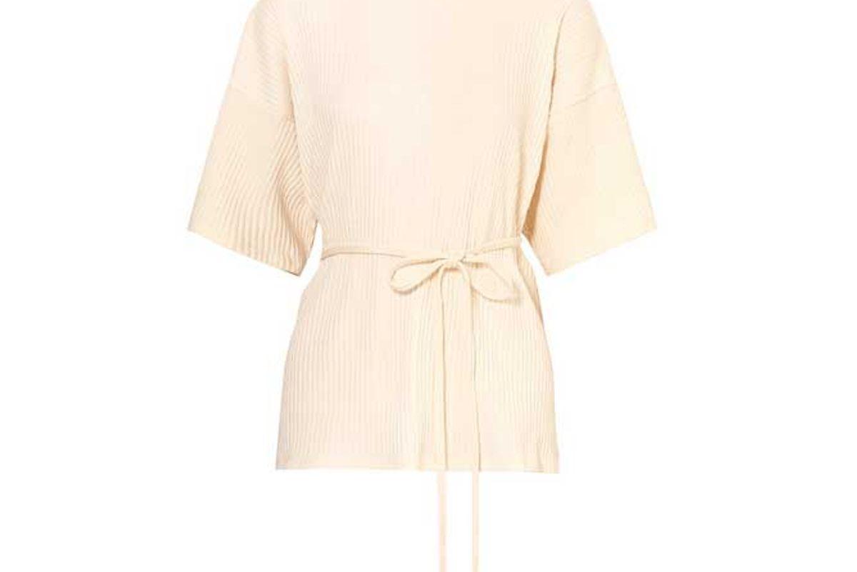 baserange shaw wrap effect ribbed organic cotton fleece t shirt