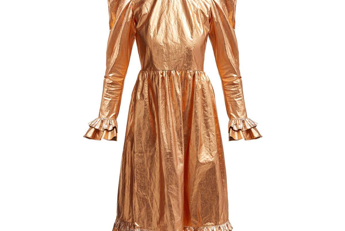 batsheva ruffled coated cotton prairie midi dress