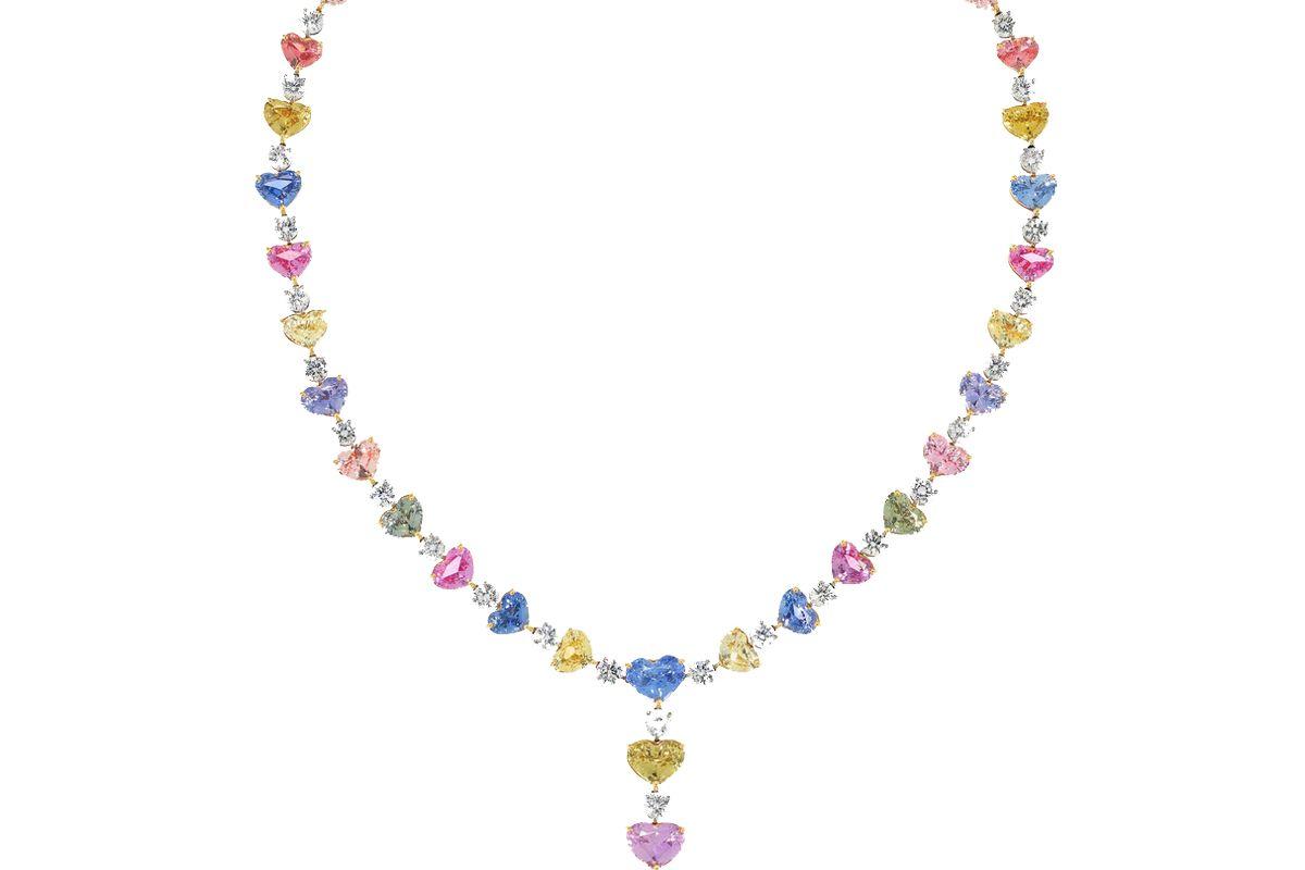 bayco 18 karat gold platinum diamond and sapphire necklace