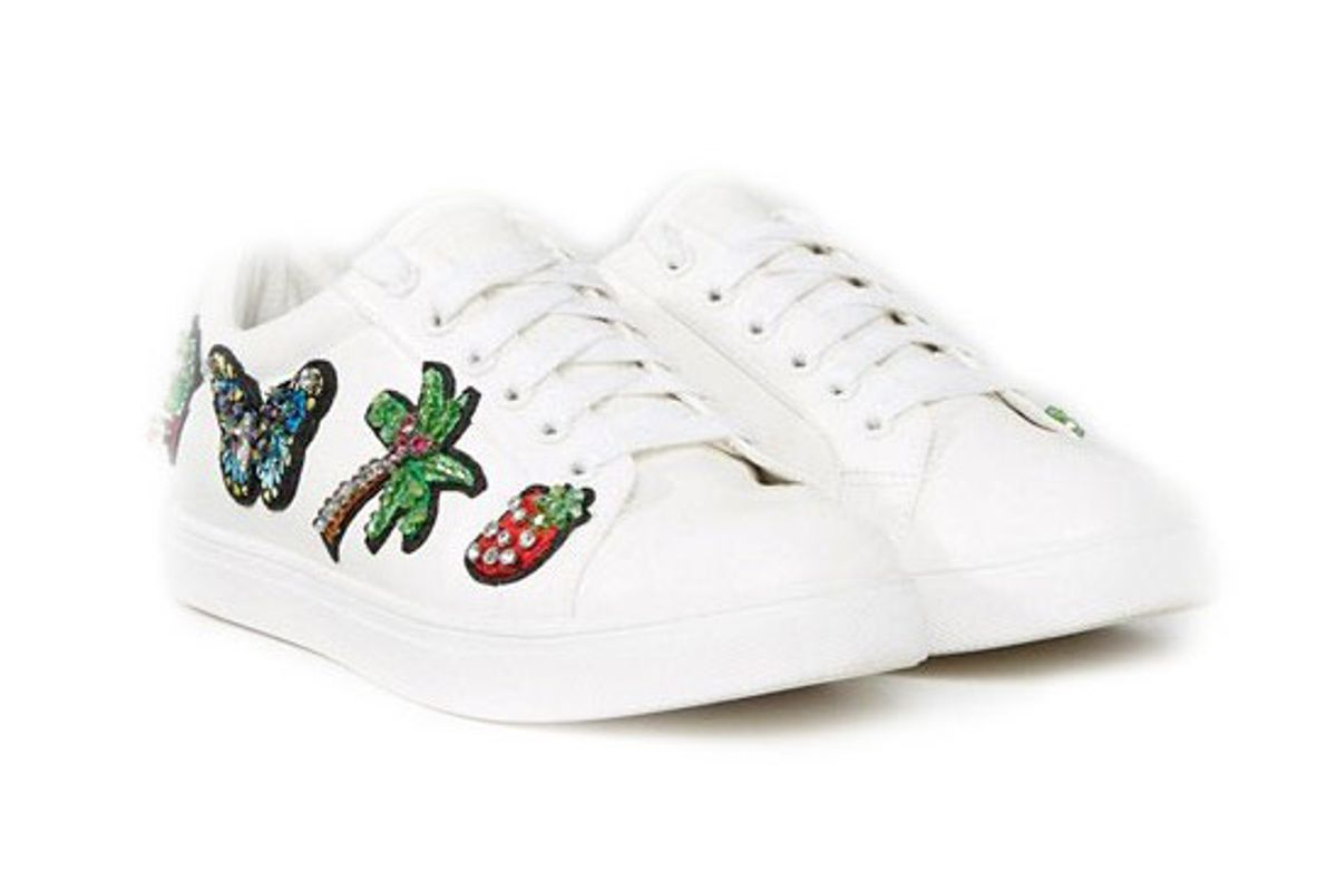 Diamond Wide Fit Patched Sneaker