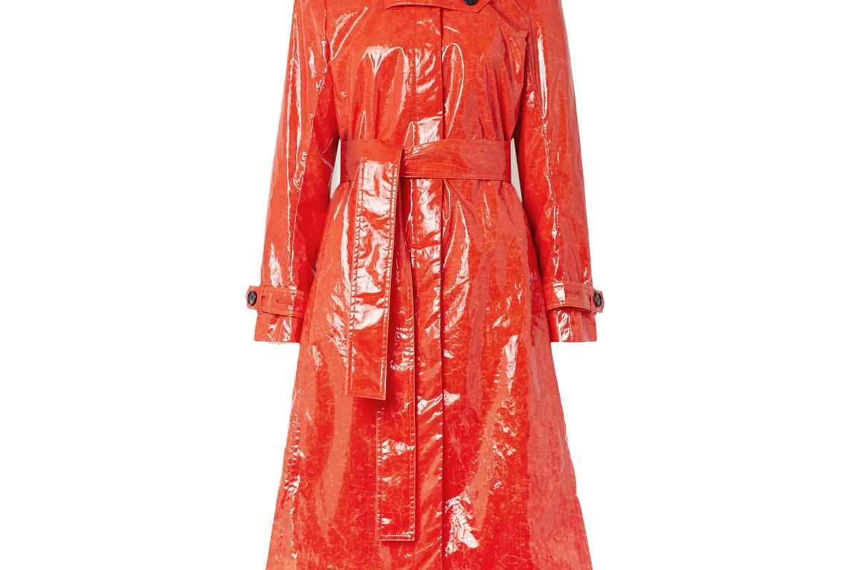beaufille fini belted pu trench coat