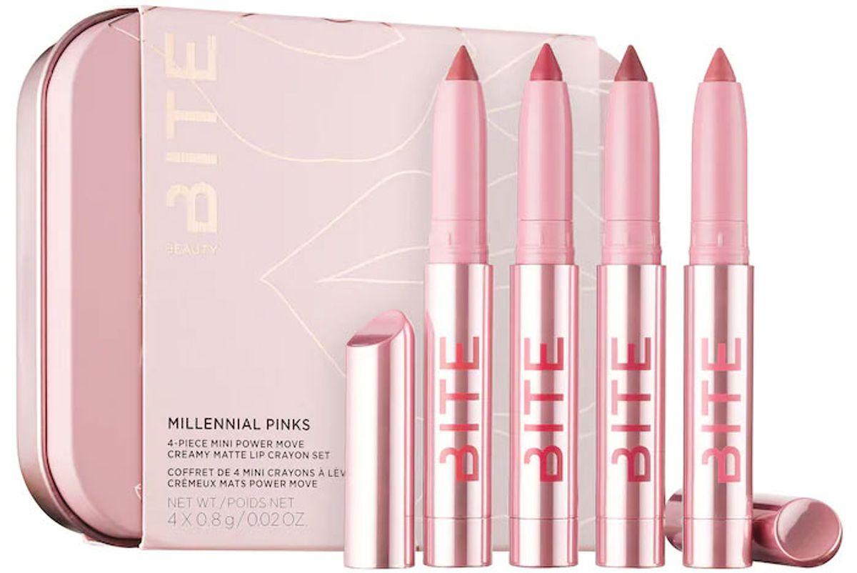 bite beauty millennial pinks 4 piece mini power move creamy matte lip crayon set