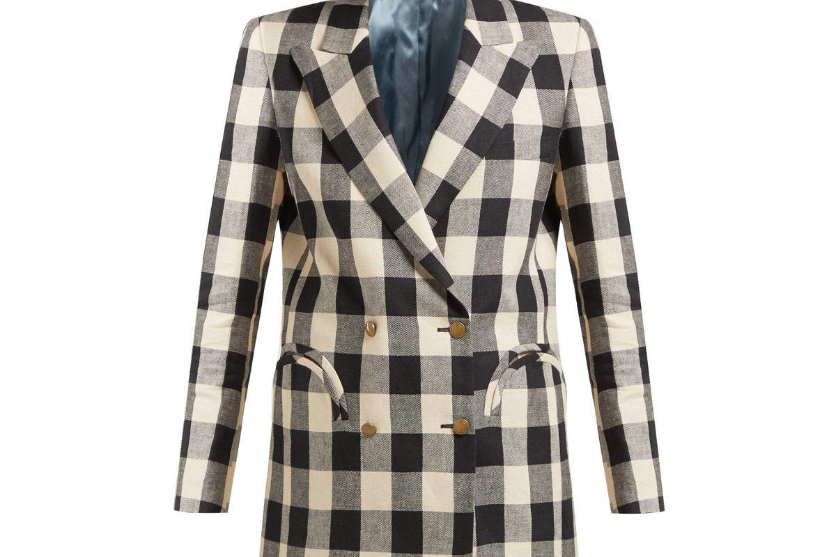 blaze milano pequod double breasted check linen blazer