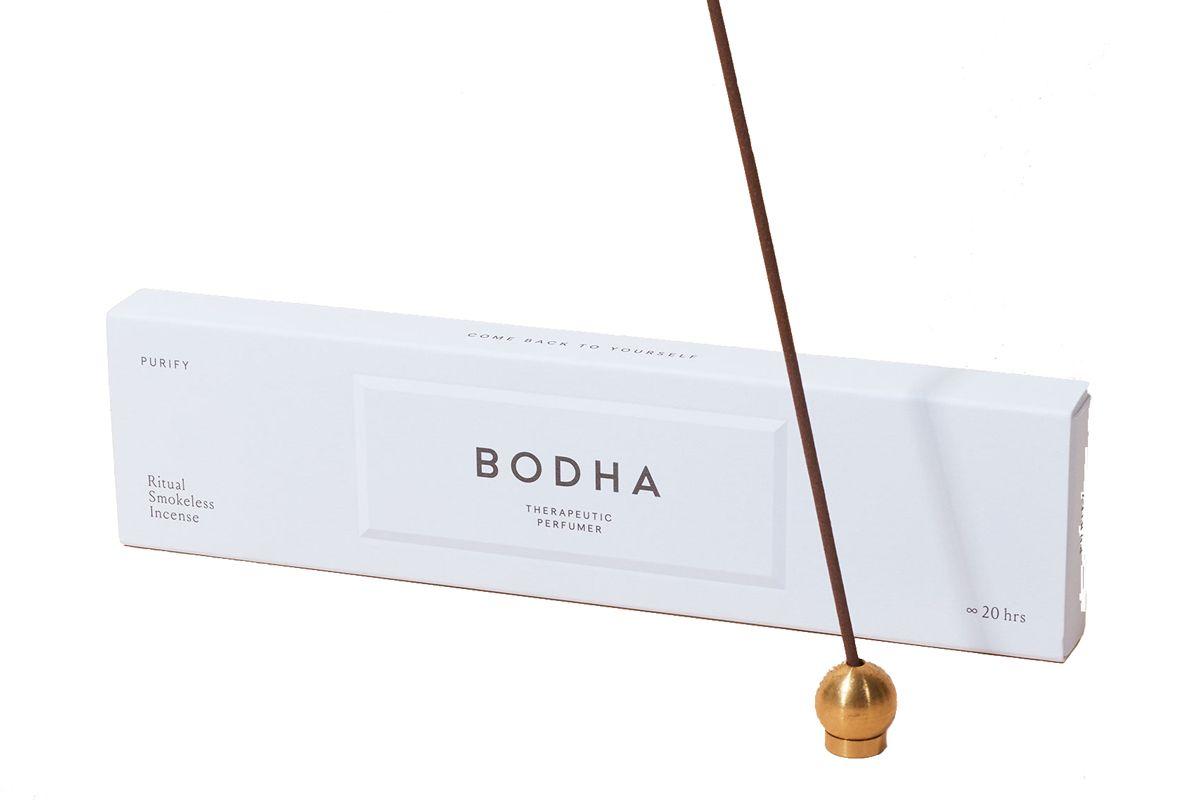 bodha smokeless incense and polished brass holder set