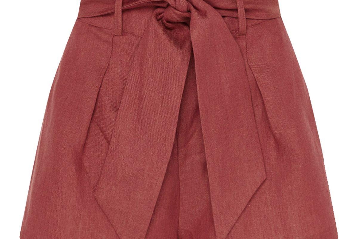 bondi born net sustain fancy belted linen shorts