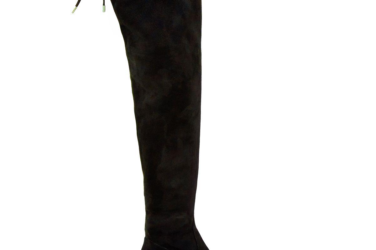 Wide Fit Black Suedette Over The Knee Block Heel Boots