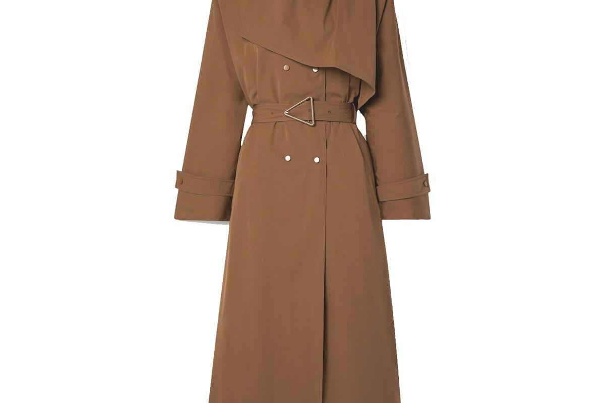 bottega veneta belted double breasted cotton blend gabardine trench coat