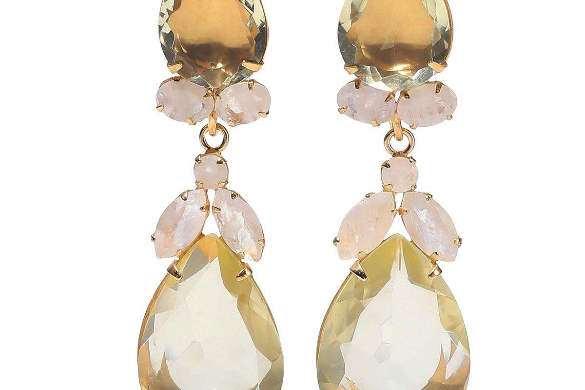bounkit 14 karat gold plated quartz and moonstone earrings