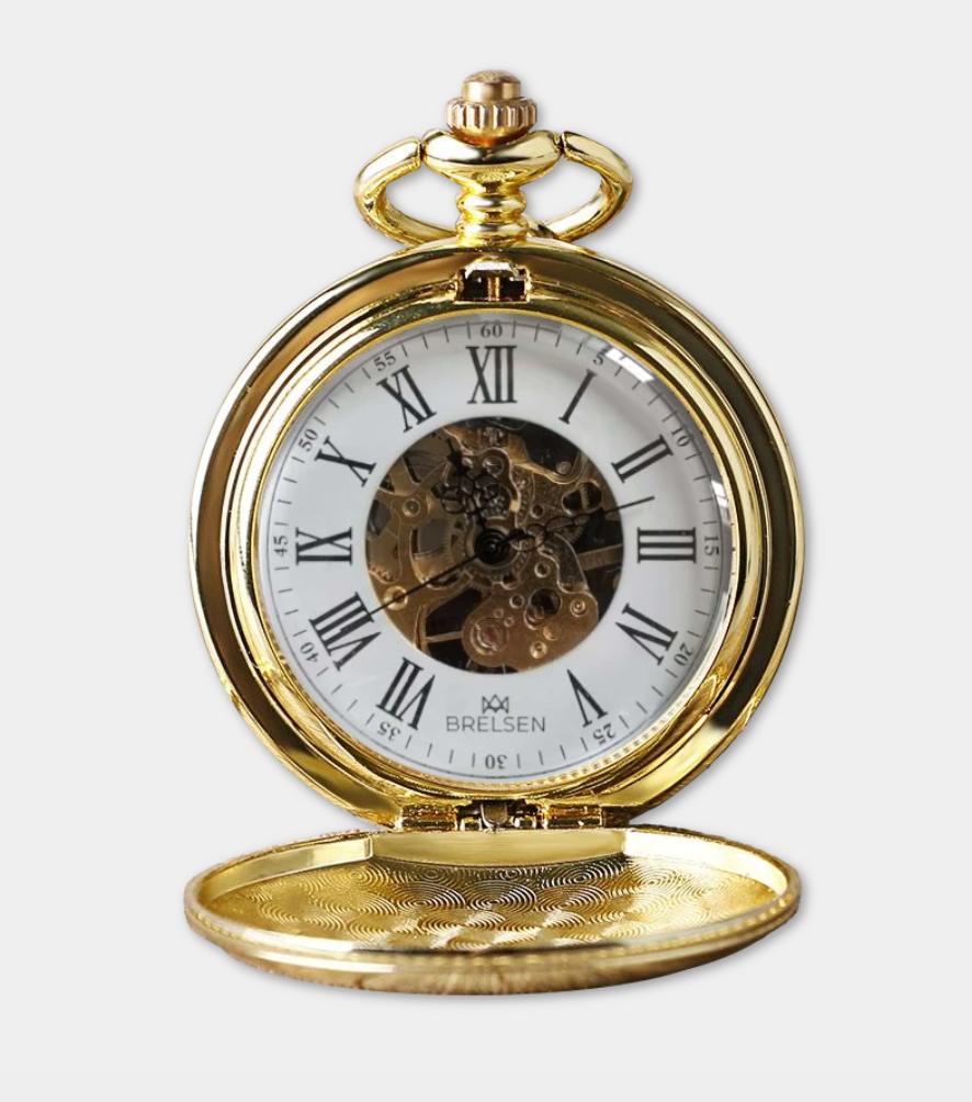 brelsen royal gold double hunter mechanical pocket watch