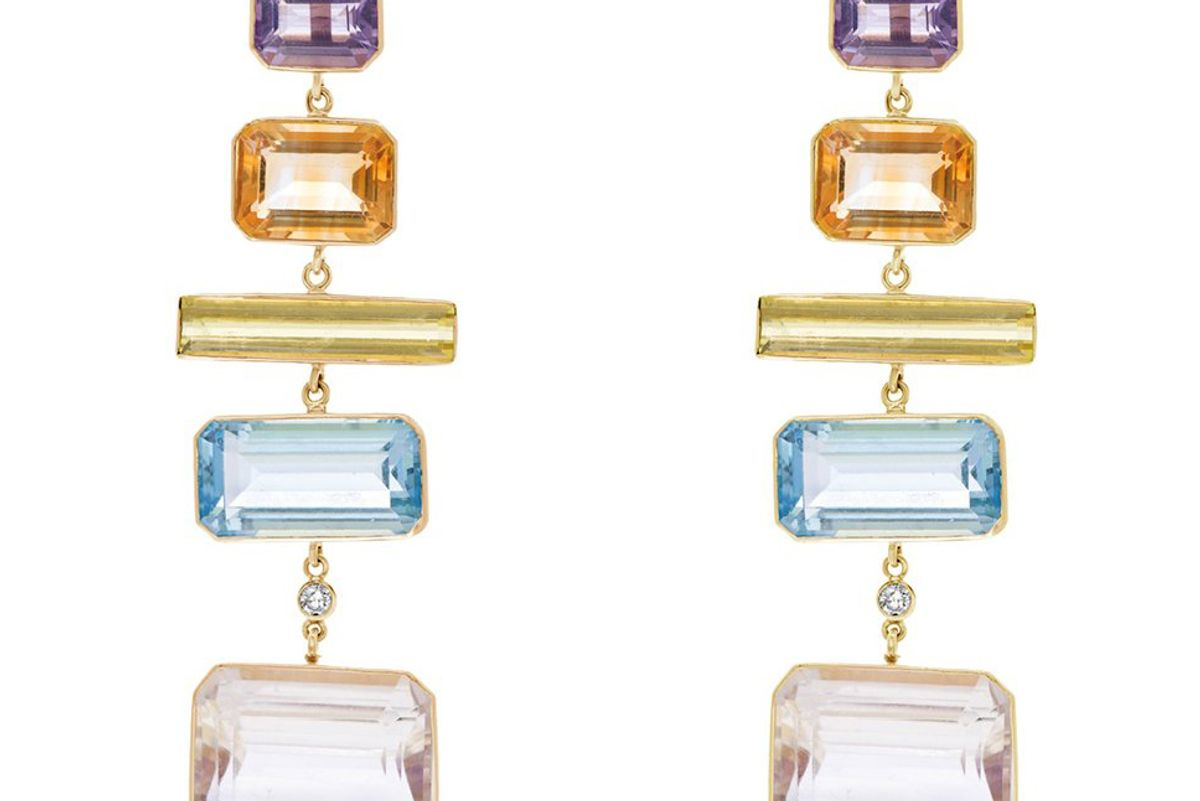 brent neale deconstructed rainbow editorial earrings