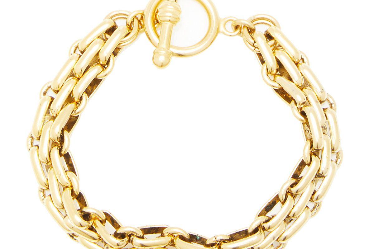 brinker and eliza end game 24k gold plated chain bracelet