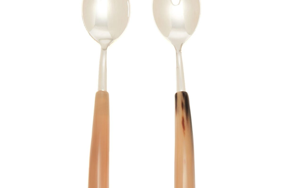 brunello cucinelli horn handle salad serving set