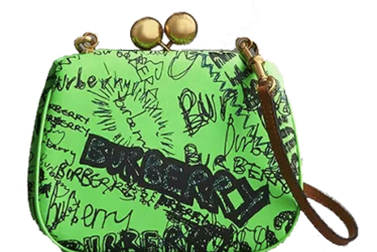 burberry small doodle print leather frame bag