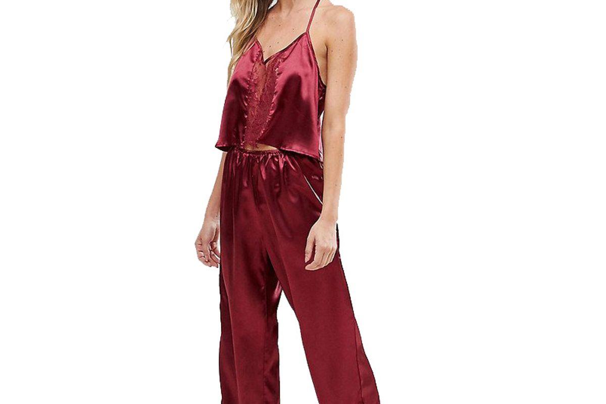 Burgundy Satin Pajama Set