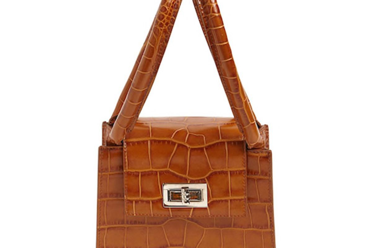 by far sabrina croc embossed leather top handle bag