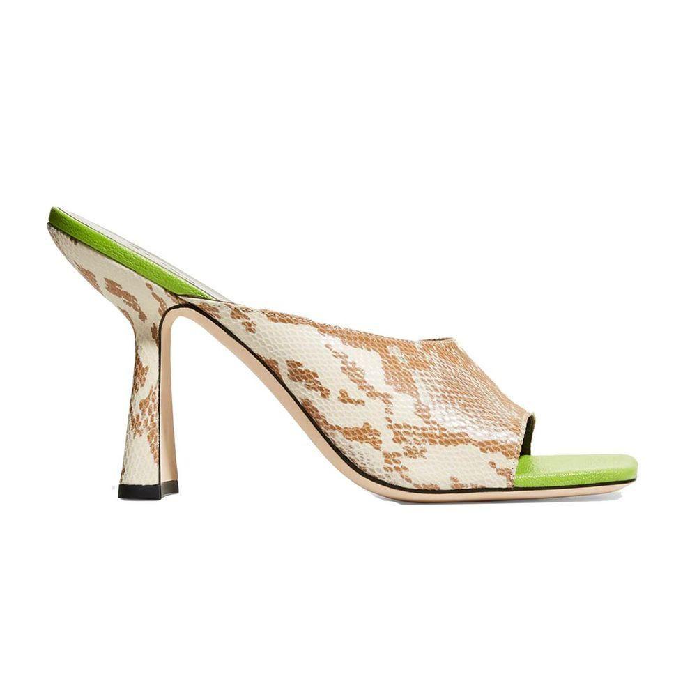 by far zaya snake print slide high heel sandals