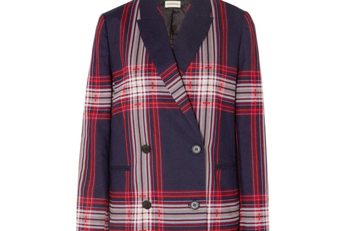 by malene birger rivali double breasted checked linen and cotton blend blazer