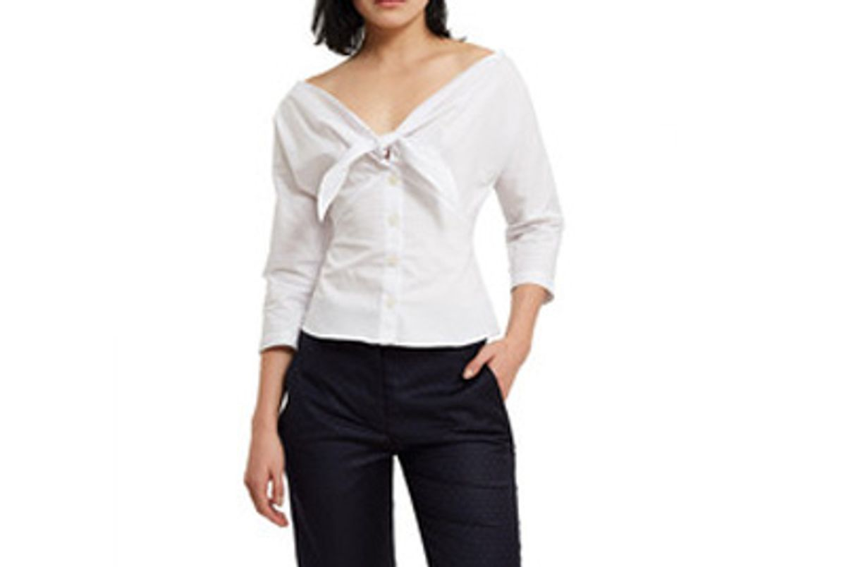 callipygian knotted front button down blouse