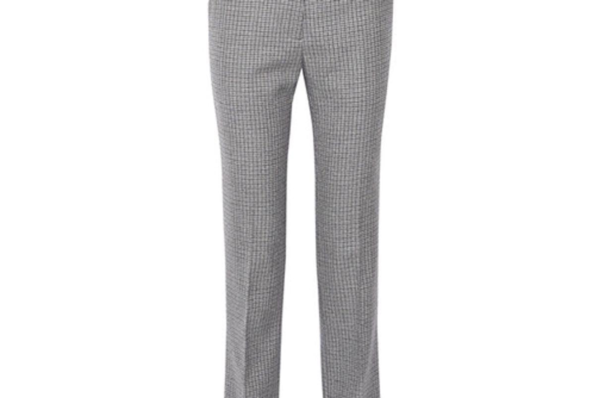 Calvin Klein Houndstooth Wool Straight-Leg Pants
