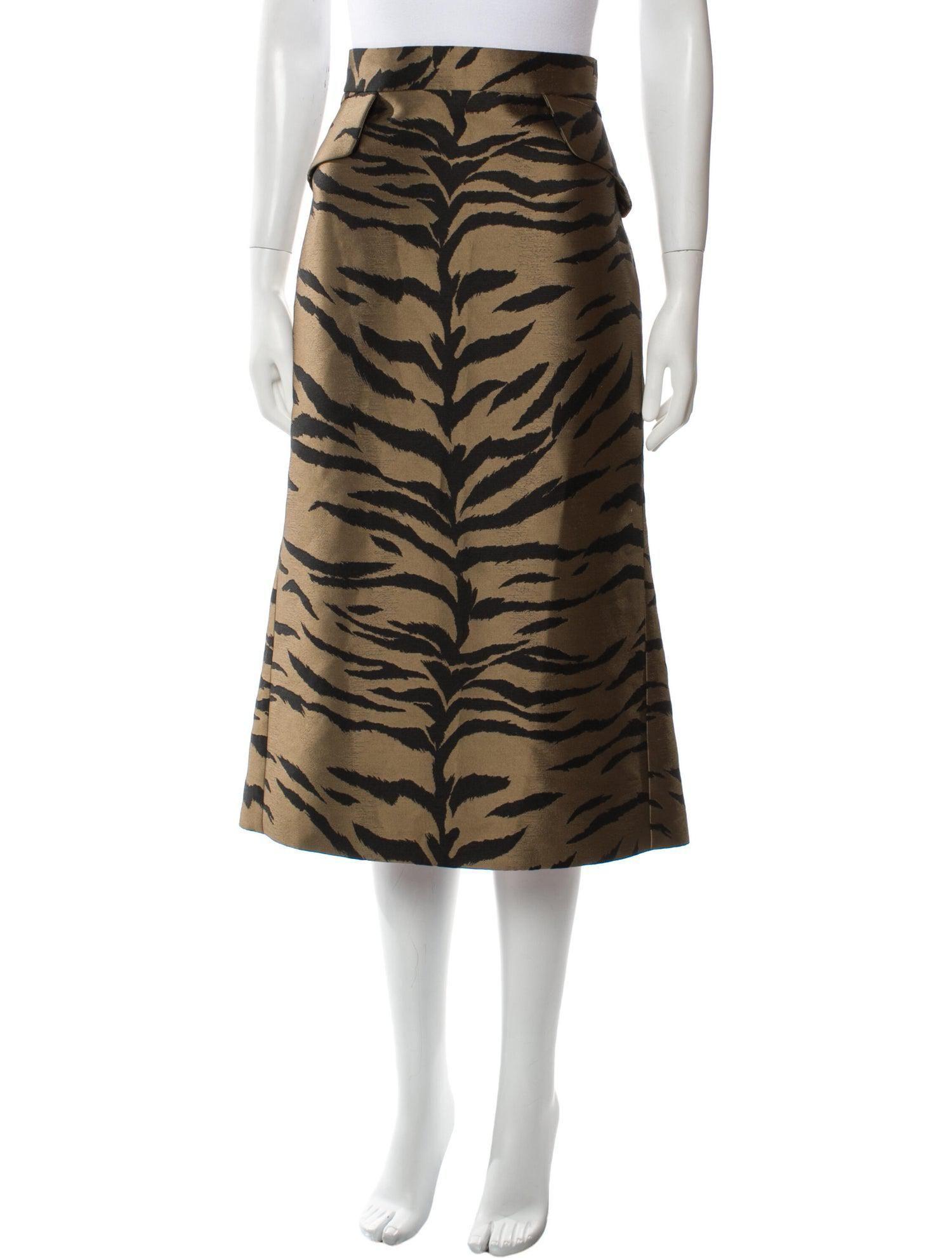 carolina herrera animal print midi length skirt