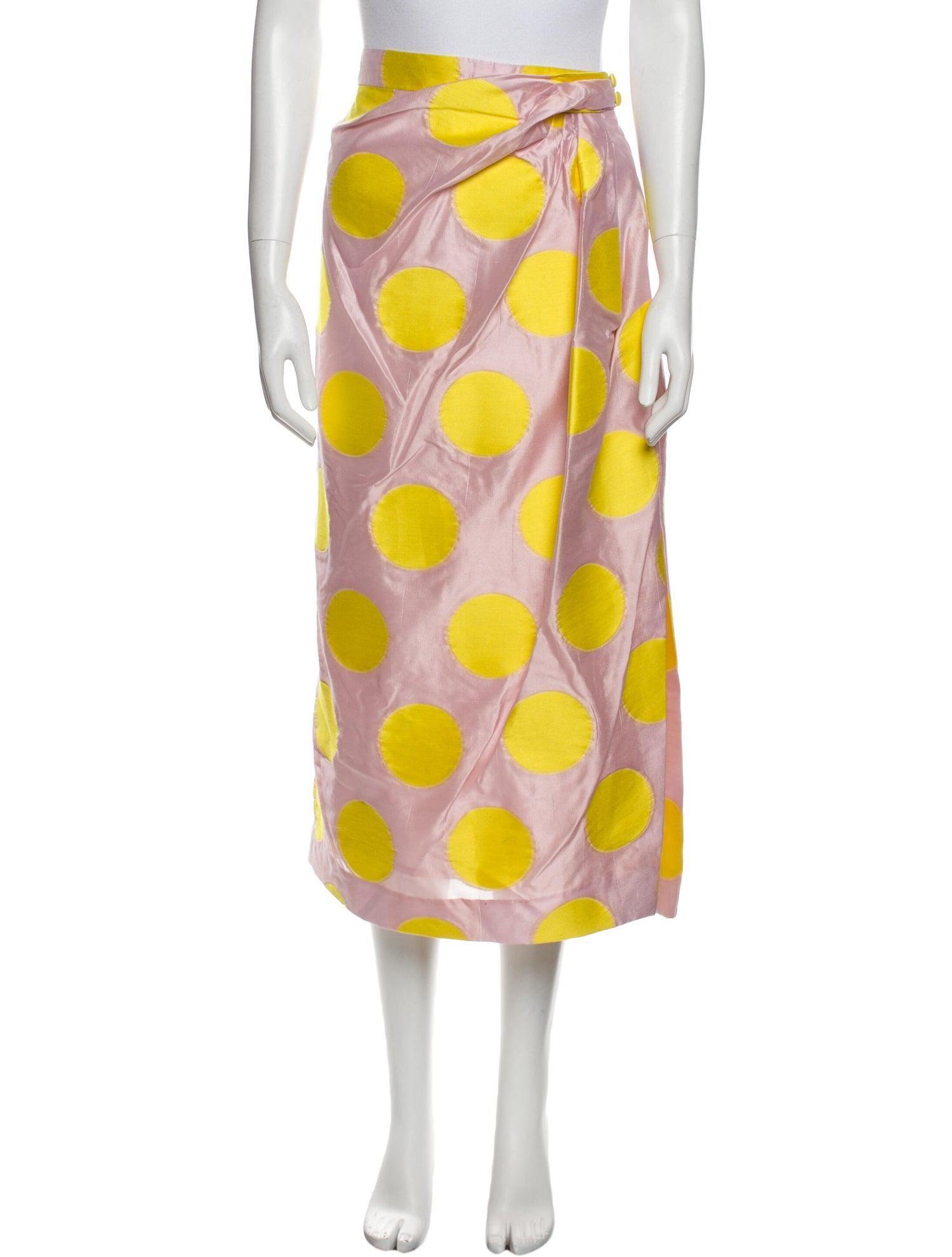 carolina herrera polka dot print midi length skirt