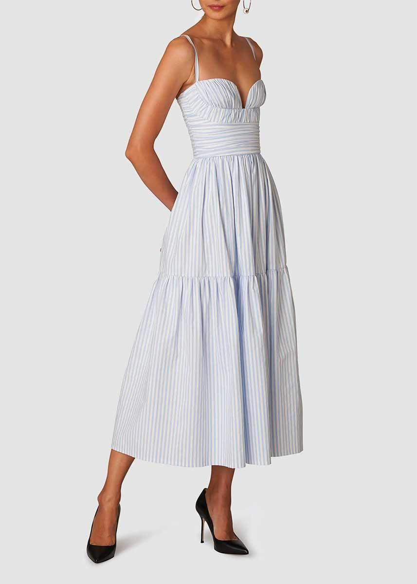 carolina herrera striped sweetheart neck cotton midi dress