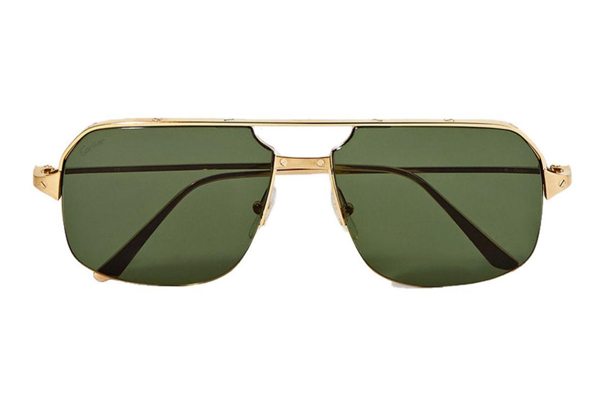 cartier eyewear santos aviator style gold tone sunglasses