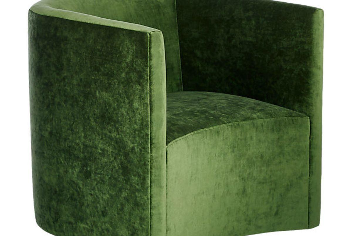 cb2 covet cypress velvet curved chair