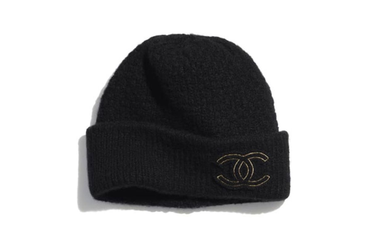 chanel cashmere and silk beanie