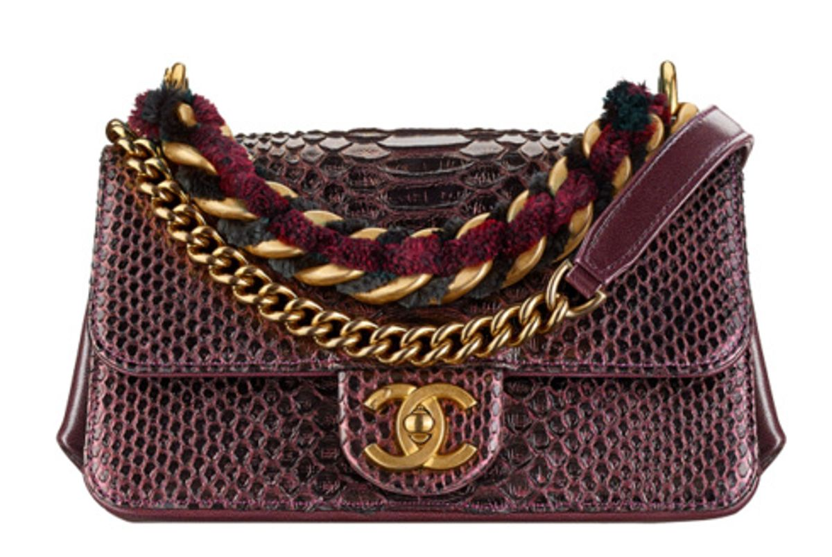 Burgundy and Black Flap Bag with Python, Lambskin, Ruthenium-Tone, and Gold-Tone Metal