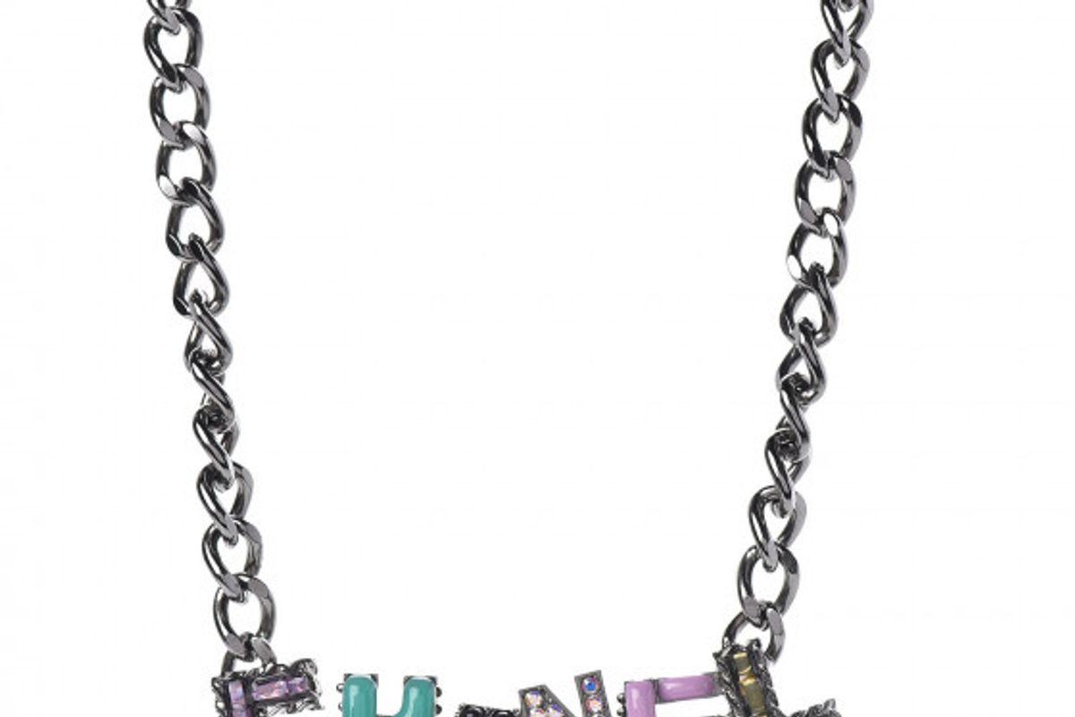 chanel metal strass enamel cc chain link choker necklace