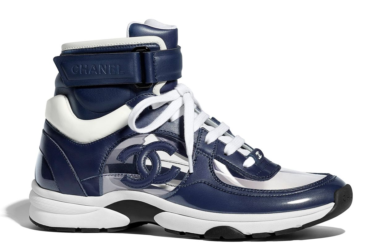 chanel patent calfskin and pvc sneakers