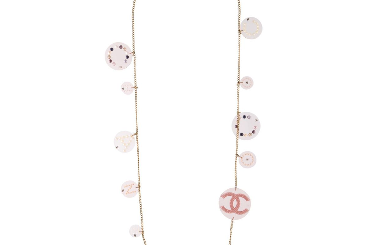 chanel resin and faux pearl station necklace