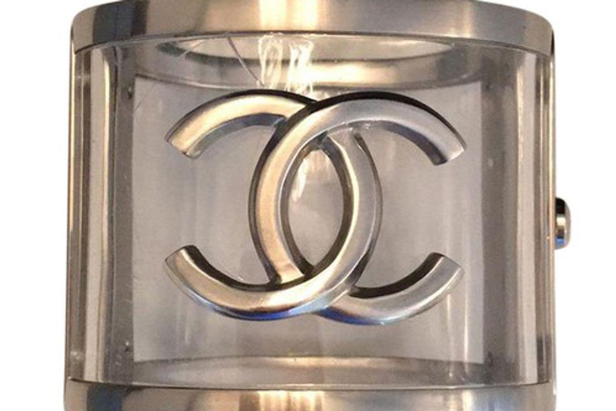 chanel silver resin cuff bracelet
